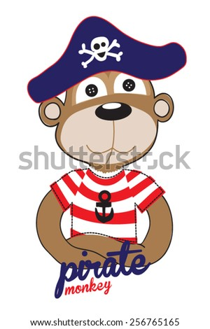 monkey / T-shirt graphics / cute cartoon characters / cute graphics for kids / Book illustrations / textile graphic - stock vector