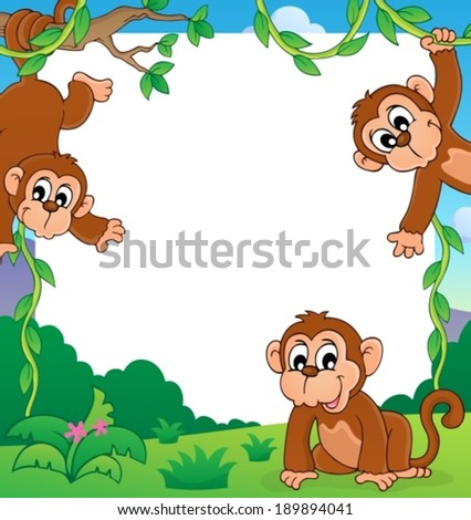 monkey thematic frame 1 eps10 vector illustration - Monkey Picture Frame
