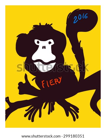 Monkey. Vector illustration in doodle style. - stock vector