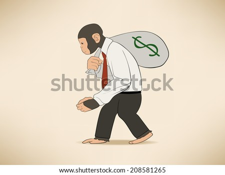 Monkey with money sack - stock vector