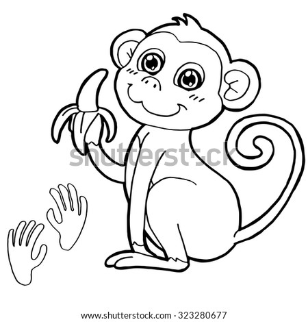 Monkey Paw Print Coloring Page Vector Stock Vector HD (Royalty Free ...