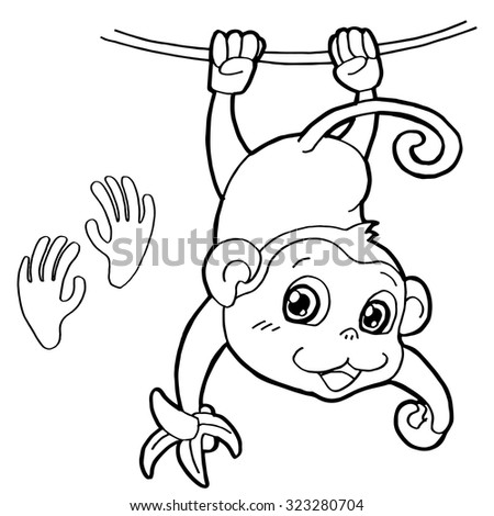 Monkey With Paw Print Coloring Page Vector