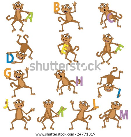Monkeys holding the alphabet. - stock vector