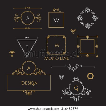 Mono line elegant design elements. Badges, vignettes & frames set. Vector illustration - stock vector
