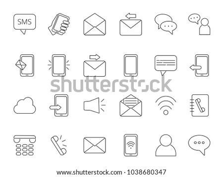 Mono Line Icon Set Business Theme Stock Vector Royalty Free