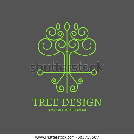 Mono Line Logo Design. Tree Nature Element. Plant, Nature and Eco Template. Vector illustration