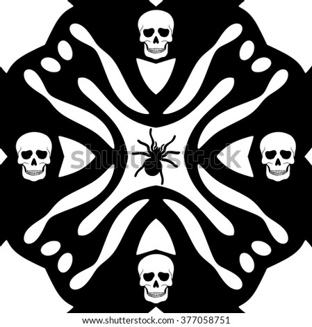 Monochromatic background with skulls ans spider silhouette on white background