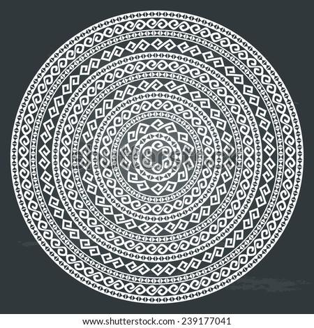 Monochromatic ethnic round texture on chalkboard background. Oriental arabesque pattern background. Most popular round borders. Vector illustration - stock vector