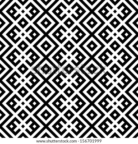 monochromatic ethnic seamless background. checkered textures in black and white colors. vector illustration  - stock vector