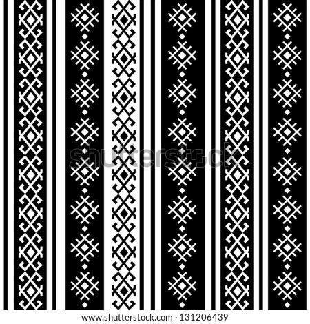 monochromatic ethnic seamless background. vertical textures in black and white colors - stock vector