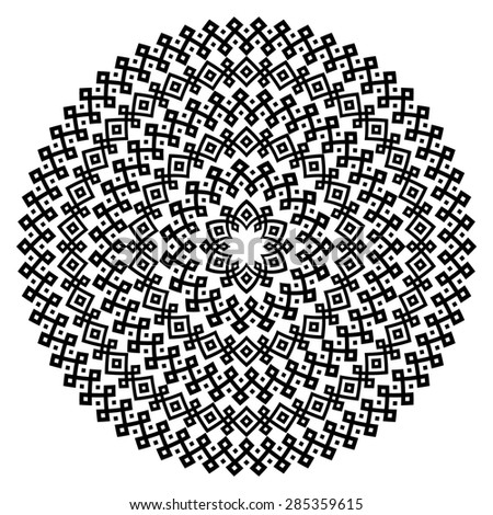 Monochromatic ethnic seamless textures. Round ornamental vector shape isolated on white. Oriental arabesque pattern background. Vector illustration in black and white colors.  - stock vector