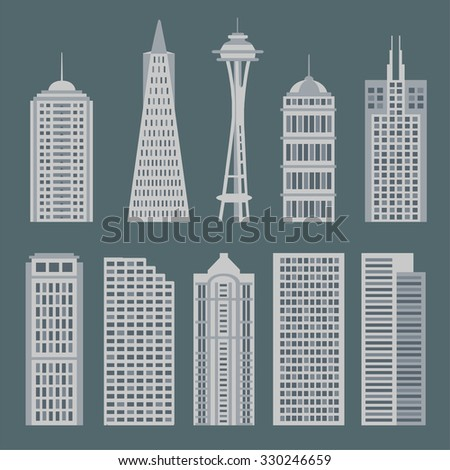 Monochromatic house great cities of the world. Set of flat style the buildings for backgrounds or game. Vector collection of buildings in the trend. Illustration of famous buildings in big cities - stock vector