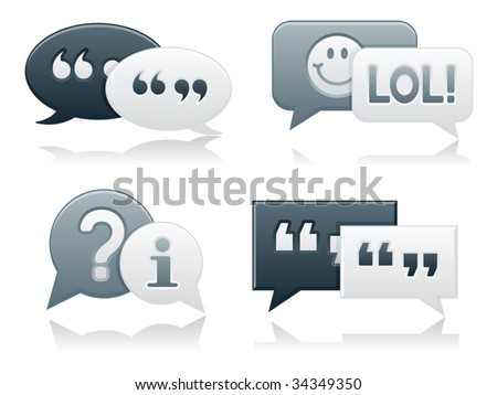 Monochromatic, smooth-style chat bubbles with drop shadows; perfect for web projects - stock vector