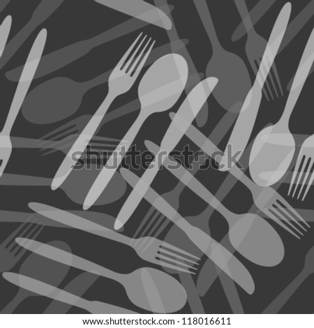 monochromatic transparent white grey cutlery seamless pattern