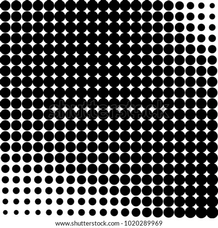 Monochrome abstract halftone. Vector black and white pattern of dots