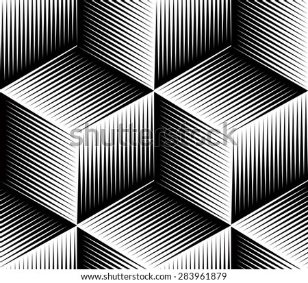 Monochrome abstract interweave geometric seamless pattern. Vector black and white illusory backdrop with three-dimensional intertwine figures. Graphic contemporary covering. - stock vector