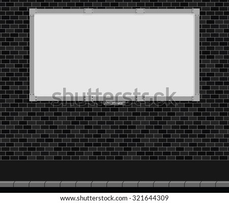 Monochrome advertising board on brick wall with white background, copy space for own text and graphics - stock vector