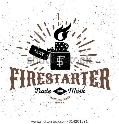 "monochrome antique hipster vintage label , badge, crest ""firestarter"" for flayer poster logo or t-shirt apparel clothing print with lettering sun burst and zippo lighter - stock vector"