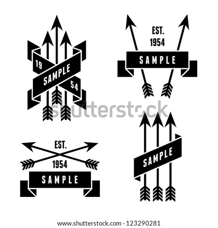 monochrome antique label with arrows - stock vector