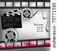 Monochrome background with cinema clapper and film - stock vector