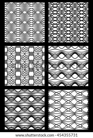 Monochrome black and white seamless patterns. Vector collection of art deco patterns. Geometric vintage stripe ornaments.