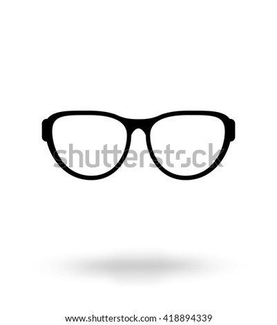 Monochrome black glasses icon, vector illustration - stock vector