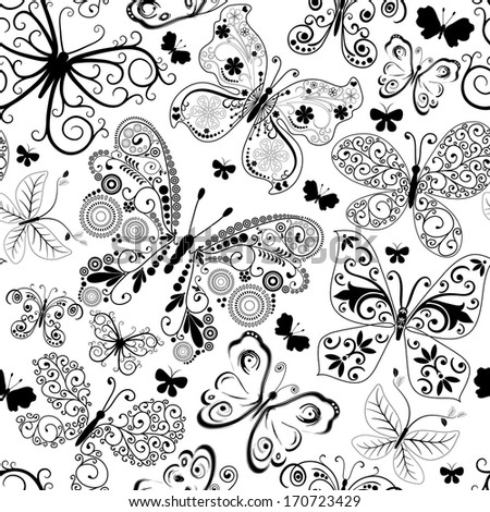 Monochrome black seamless pattern with lacy butterflies (vector) - stock vector