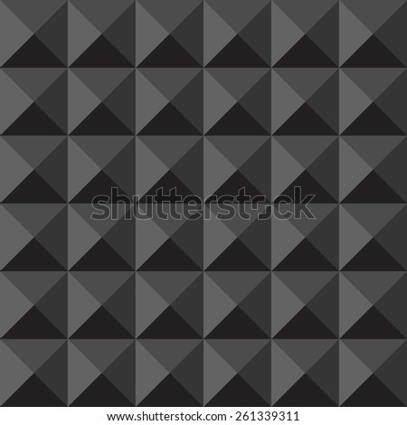 Monochrome black triangles vector seamless pattern. Volume optical illusion. Dark shades.