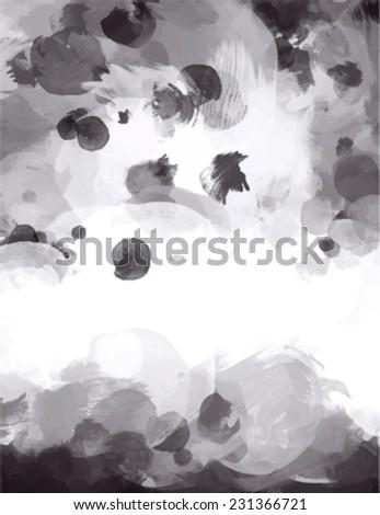 Monochrome brush stroke paint. Abstract illustration. - stock vector