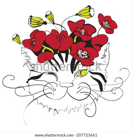 Monochrome cat head with red poppy flowers on top