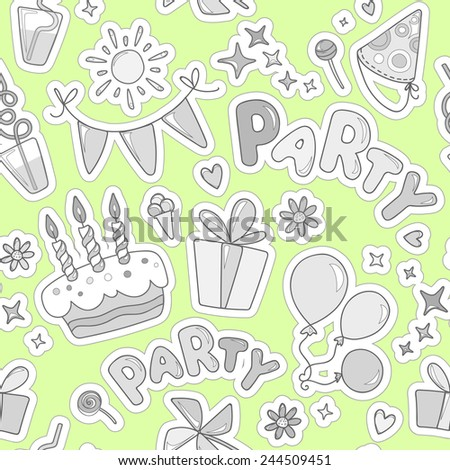 Monochrome cheerful seamless pattern on the theme of children's activities. Balloons, cake with candles, ice cream, sweets, gifts, flowers, hearts, sparkles on the background color of lime.