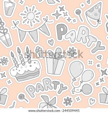 Monochrome cheerful seamless pattern on the topic of children's leisure. Balloons, cake with candles, ice cream, candy, gifts, flowers, hearts, sparkles on an orange background.