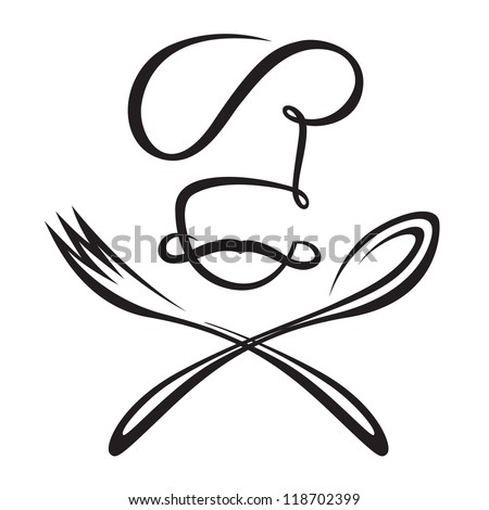 monochrome chef with spoon and fork - stock vector