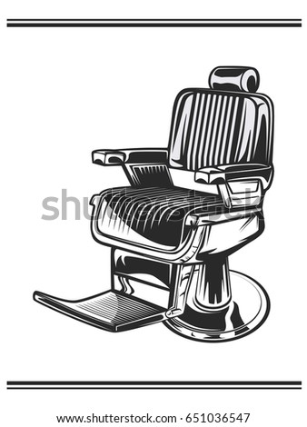 Monochrome Color Illustration Of Barbershop Chair Leather With Chrome Elements Isolated On White