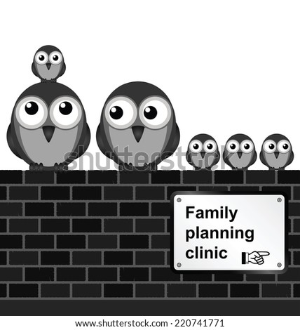 Monochrome comical family planning sign on brick wall isolated on white background