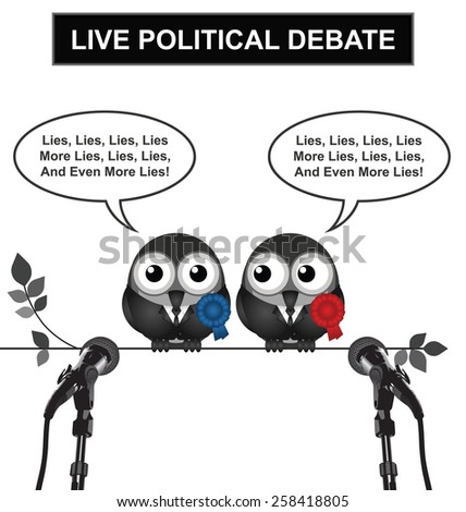 Monochrome comical live political debate with politicians spouting lies and more lies isolated on white background - stock vector