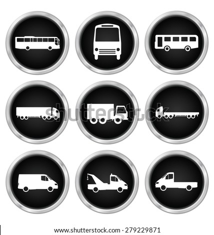 Monochrome commercial vehicle related icons isolated on white background - stock vector