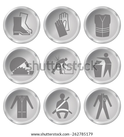 Monochrome construction manufacturing and engineering health and safety related icon set isolated on white background - stock vector