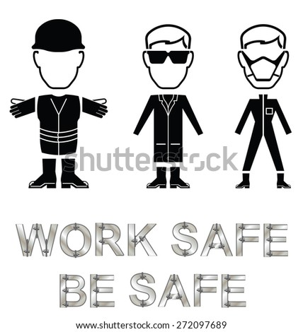 Monochrome construction manufacturing and engineering health and safety related message isolated on white background - stock vector