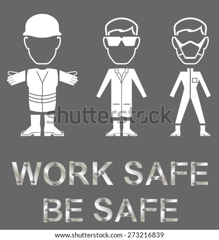 Monochrome construction manufacturing and engineering health and safety related message isolated on grey background - stock vector
