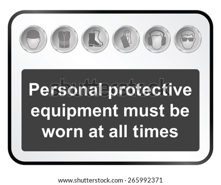 Monochrome construction manufacturing and engineering health and safety related sign isolated on white background - stock vector