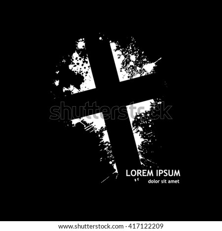 monochrome Cross from the stains of paint. Vector - stock vector