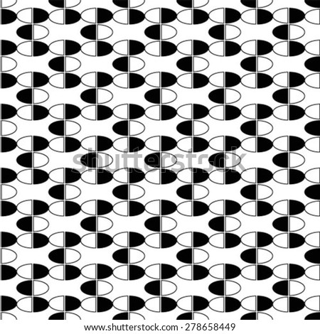 Monochrome curved geometric seamless pattern. Vector background