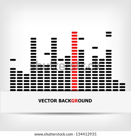 Monochrome digital equalizer background with red strip - vector illustration - stock vector