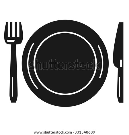 Monochrome dishware. Plate, knife, fork vector icon. - stock vector