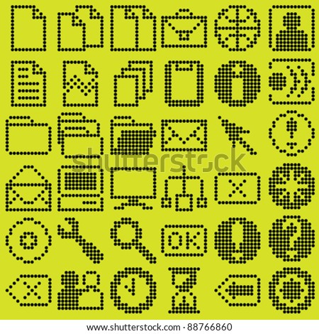 monochrome dot-based icon big set for control screens and web design. more icons are available - stock vector