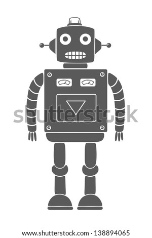Monochrome drawing of a vintage toy robot. Isolated object. Vector illustration. - stock vector