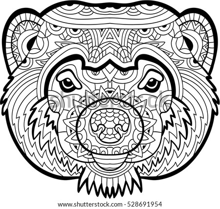 Monochrome Drawing Of A Wolverine With Patterns Coloring Page For Adults Line Art