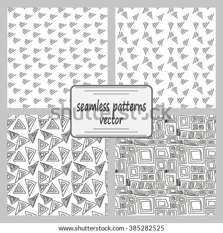 Monochrome elegant seamless pattern in black and white. Seamless geometric pattern. Mathematical abstract seamless pattern. A set of 4 patterns. - stock vector