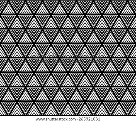 Monochrome elegant vector seamless pattern. Endless texture can be used for wallpaper, pattern fills, web page background,surface textures, fabric and paper. Repeating  lattice triangle. - stock vector